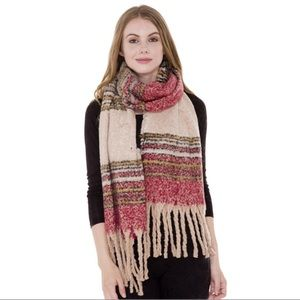 Accessories - Striped Pattern Blanket Scarf with Fringes❤️